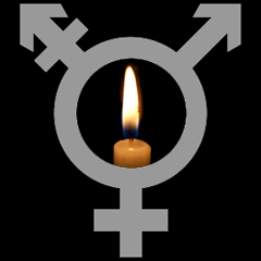 Grey transgender symbol on black background overlaid with a candle