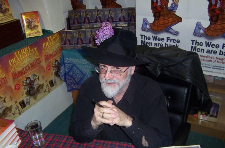 A picture of Terry Pratchett at a book signing.