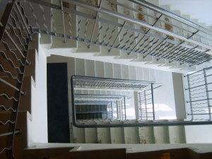 A spiraling stairwell