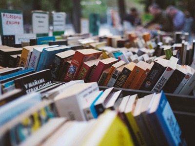 Rows of books at a market