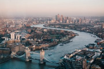 Aerial picture of London skyline