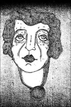 A drawing, or possibly an etching, of a woman, entitled