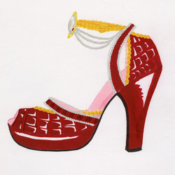 A drawing from marker and colored pencil, of a red shoe accented with pearls, large pearl jewel and gold braided trim.