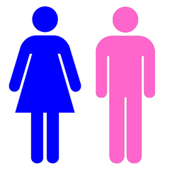 The image 'Blue girl pink boy' shows the standard pictogram symbols for men and women, often used on the doors of public restrooms and other gender-segregated spaces. The pictogram for the woman is coloured blue and the pictogram for the man is coloured pink.
