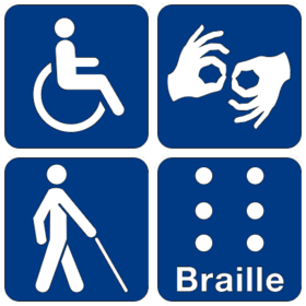 A collection of 4 pictograms. On the top left is the symbol for wheelchair accessibility; on the top right the symbol for sign language interpretation; on the bottom left is the symbol for low vision access; and on the bottom right the symbol for Braille.
