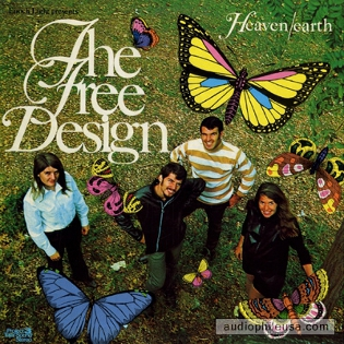 Cover of The Free Design's third album 'Heaven-Earth' showing a view from above of the band, smiling up at the camera, in a field. Colourfully drawn butterflies are overlaid to appear as if they are surrounding them