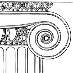 This image is called IonicCapitalPriene. It is based on a monochrome line drawing of an Ionic capital from the Temple of Minerva Polias at Priene. It is a public domain image from the Wikimedia Commons.