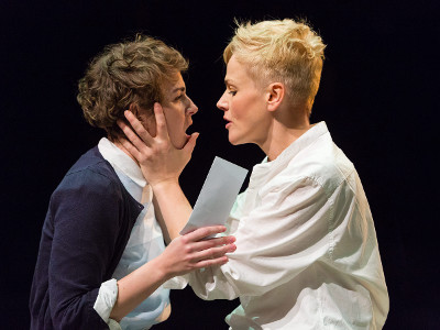 Katie West as Ophelia (left) and Maxine Peake as Hamlet in  HAMLET (Royal Exchange Theatre until 25 October). Photo - Jonathan Keenan.jpg