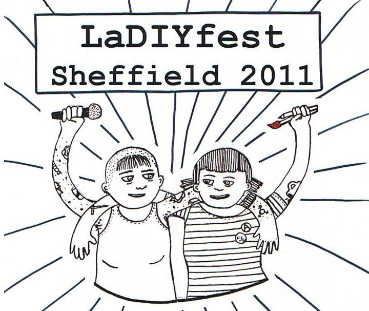 LaDIYfest logo: a handwritten drawing of two women each with an arm over the other's shoulder. Their free hands hold a microphone and paintbrushes. One has bunches and a stripy t-shirt, the other a shaven head and a vest. Both look happy.