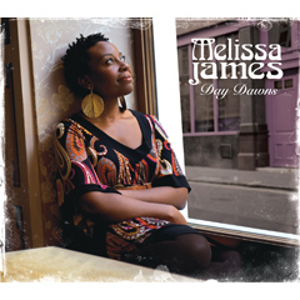 Album cover of Day Dawns by Melissa James showing Melissa sitting sideways on a window seat, smiling and looking upwards to her left out of the window