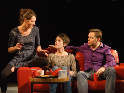 The One Soho Theatre - Phoebe Waller-Bridge (Jo) Lu Corfield (Kerry) and Rufus Wright (Harry) - credit Simon Kane.jpg