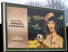 Heavily made up woman in 'oriental' dress: caption reads 'first class expresso experience'