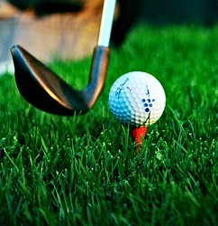 Close-up photo of the head of a golf club about to hit a ball on a bright green lawn