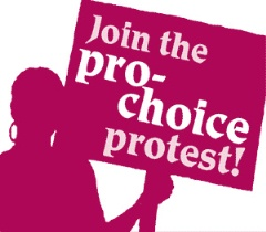 an outline of a woman holding a placard reading join the pro-choice protest, all in pink