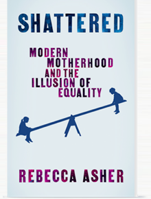 Cover of Shattered, featuring the book's title in shiny blue and pink letters on a pale blue background. Below is an outline of a boy and girl on a see-saw. The boy is raised up in the air.